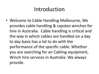Cable Handling Melbourne