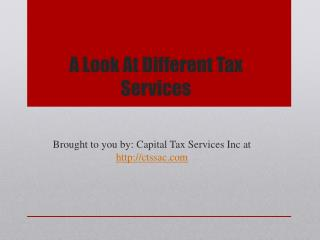 A Look At Different Tax Services