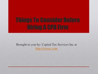 Things To Consider Before Hiring A CPA Firm