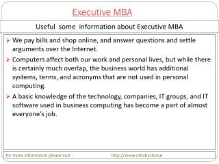 Some query about executive mba