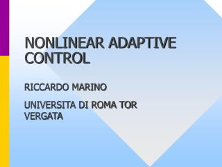 NONLINEAR ADAPTIVE CONTROL