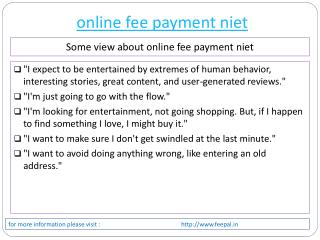 most wonderful issue about online fee payment niet