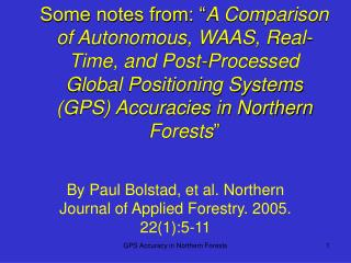By Paul Bolstad, et al. Northern Journal of Applied Forestry. 2005. 22(1):5-11