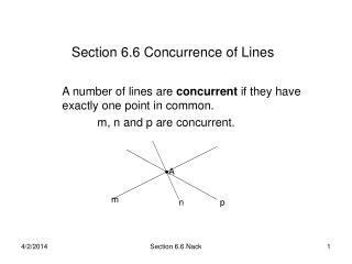 Section 6.6 Concurrence of Lines