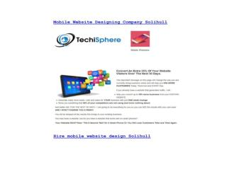 Mobile Website Designing Company Solihull - Techisphere.com