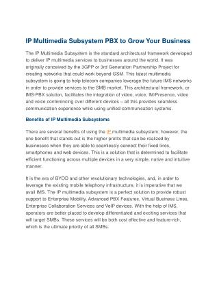 IP Multimedia Subsystem PBX to Grow Your Business