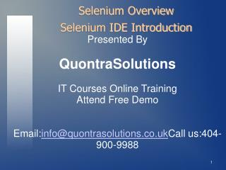 SeleniumIDE Online Training by QuontraSolutions