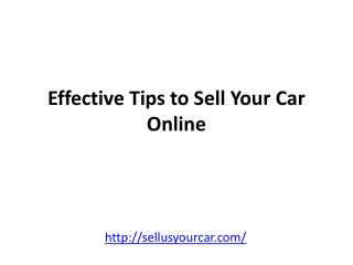 Effective Tips to Sell Your Car Online