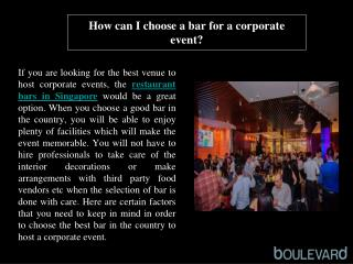 How can I choose a bar for a corporate event