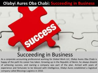Olabyi Aures Oba Chabi: Working in the US