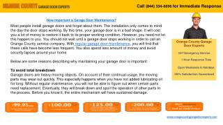 Garage Door Maintenance and Repair Services – Orange County,
