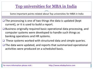 some short detail about top universities for mba in india