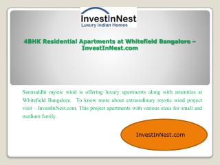 4BHK Residential Apartments at Whitefield Bangalore – Invest