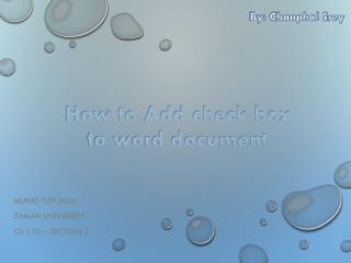 How to Add Check Boxes to Word Document