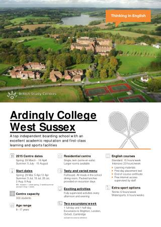 Centre fact sheet  Ardingly