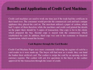 Benefits and Applications of Credit Card Machines