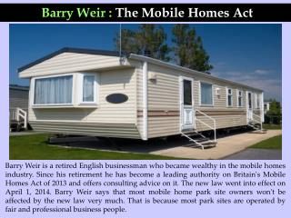 Barry Weir : The Mobile Homes Act