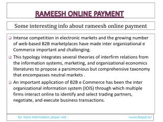 The Best Deal About Rameesh Online Payment