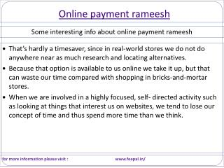 sources  of  online payment rameesh