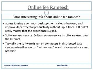 Fee problem solution with online fee rameeseh