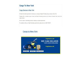 Cargo to New York - Cargo Services in New York