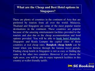 What are the Cheap and Best Hotel options in Singapore?