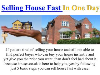 Selling House Fast In One Day