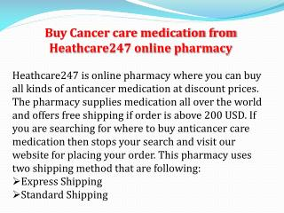 List of Anti Cancer Medication