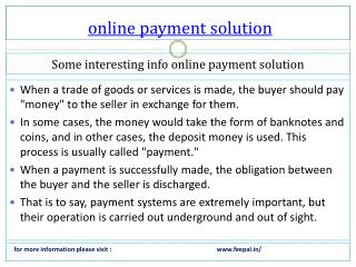 Important Guidelines for online payment solution