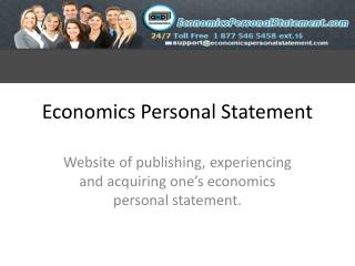 Economics Personal Statement