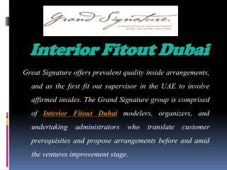 Fabulous Interior and Architects Fitouts Services in UAE