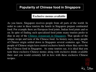 Popularity of Chinese food in Singapore