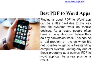 Top Five PDF to Word Apps