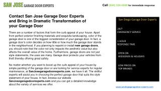 Broken Garage Door Springs Experts In San Jose