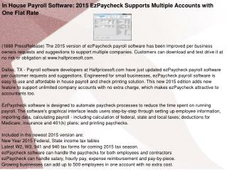 In House Payroll Software: 2015 EzPaycheck Supports