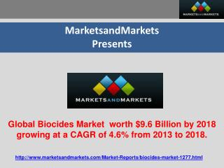 Global Biocides Market  worth $9.6 Billion by 2018 growing a