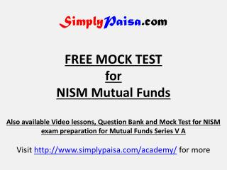 NISM Series VA Mutual fund Mock test