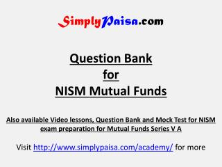 NISM Series VA Mutual Fund Question Bank