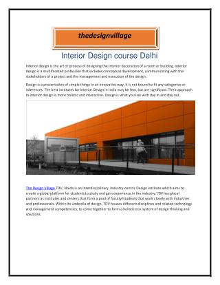 Interior Design course Delhi