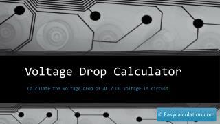 Voltage Drop Calculation - Formula, Example