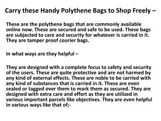 Carry These Handy Polythene Bags to Shop Freely