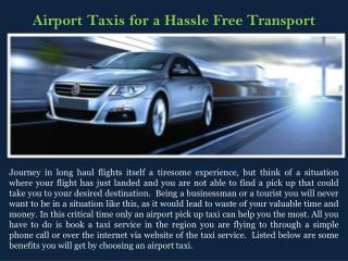 Airport Taxis for a Hassle Free Transport