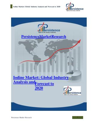 Iodine Market: Global Industry Analysis and Forecast to 2020