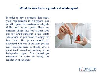 What to look for in a good real estate agent