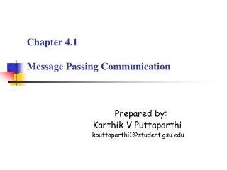 Chapter 4.1 Message Passing Communication