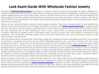 Look Avant-Garde With Wholesale Fashion Jewelry