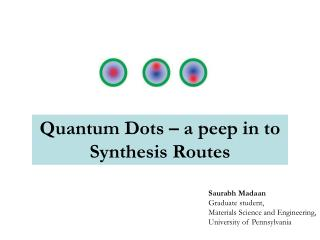 Quantum Dots   a peep in to Synthesis Routes