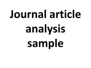 journal article analysis sample