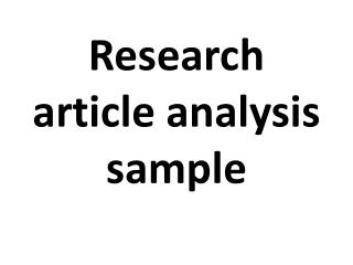 research article analysis sample