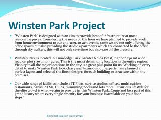 Winsten Park in Greater Noida West @ 9910098742